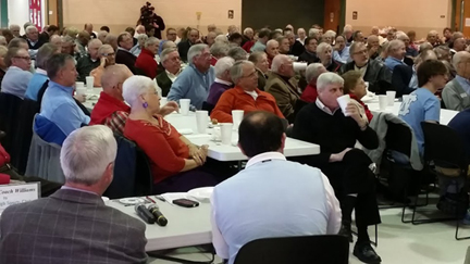 The Raleigh Sports Club meeting was packed to hear UNC coach Roy Williams.